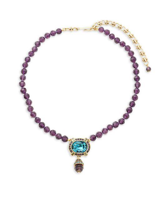 Heidi Daus - Purple Rhinestone Pendant Bead Necklace - Lyst