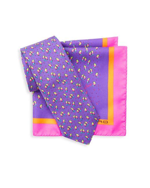 Etro - Purple 2-piece Silk Tie & Pocket Square Box Set - Lyst