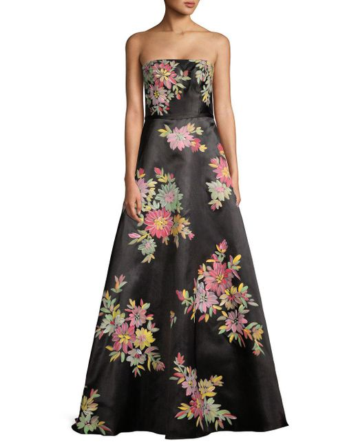 Basix Black Label - Black Floral Strapless Ball Gown - Lyst