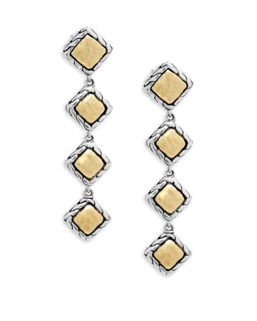 John Hardy - Metallic Palu 18k Gold And Silver Linear Earrings - Lyst