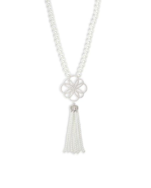 Saks Fifth Avenue   Metallic Crystal, White Faux Pearl & Silver Solid Fill Pendant Necklace   Lyst
