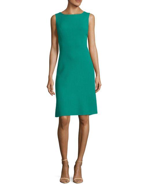 Oscar de la Renta - Green Flared Wool Dress - Lyst