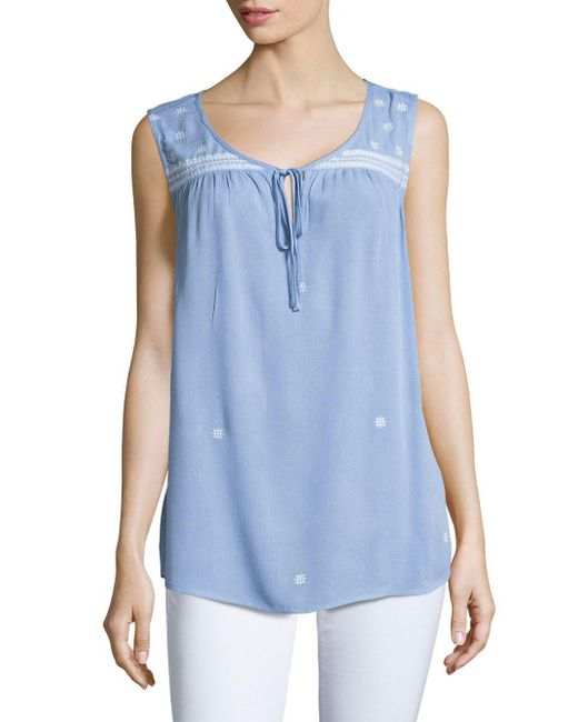 B Collection By Bobeau - Blue Embroidered Crepe Top - Lyst