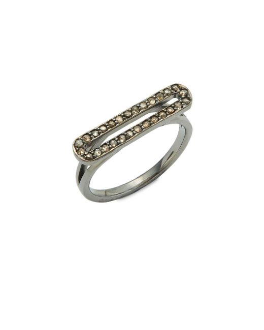 Bavna - Metallic Champagne Diamond And Sterling Silver Ring - Lyst