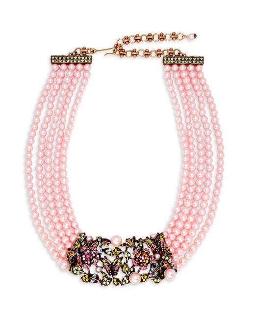Heidi Daus - Pink Faux Pearl And Swarovski Crystal Garden Multi-strand Necklace - Lyst