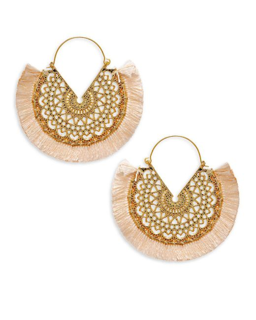 Panacea - Metallic Fringe Filagree Hoop Earrings - Lyst