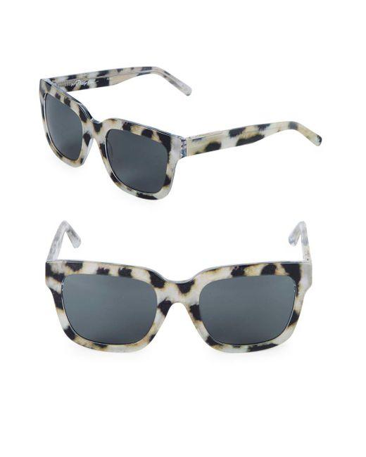 3.1 Phillip Lim - Gray 52mm Square Cheetah Sunglasses - Lyst