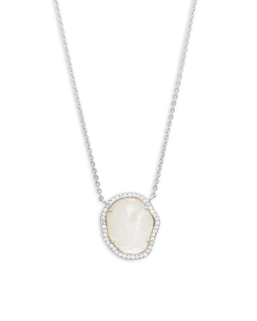 Adriana Orsini - Metallic Mother-of-pearl And Crystal Pendant Necklace - Lyst