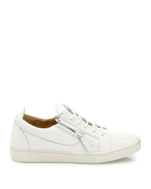 ac3711424e953 ... Giuseppe Zanotti - White Snake & Croc-embossed Leather Sneakers - Lyst