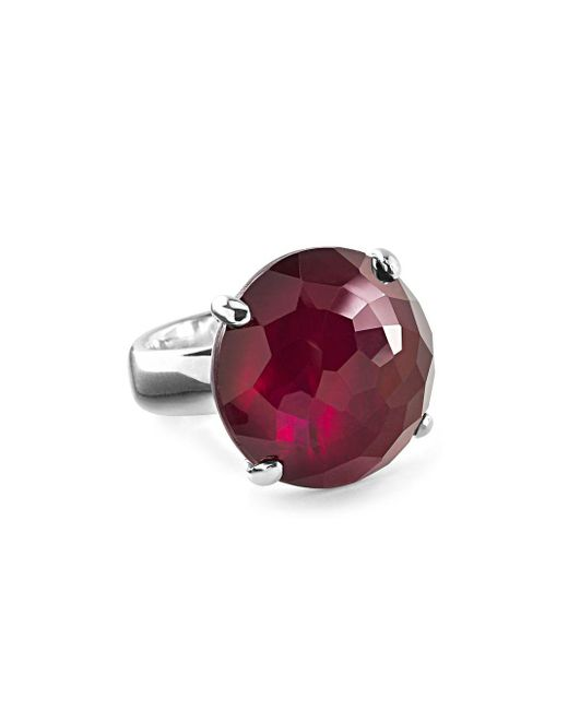 Ippolita - Red Wonder Sterling Silver Faceted Solitaire Ring - Lyst