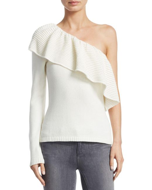 Ella Moss - Natural One-shoulder Knitted Sweater - Lyst