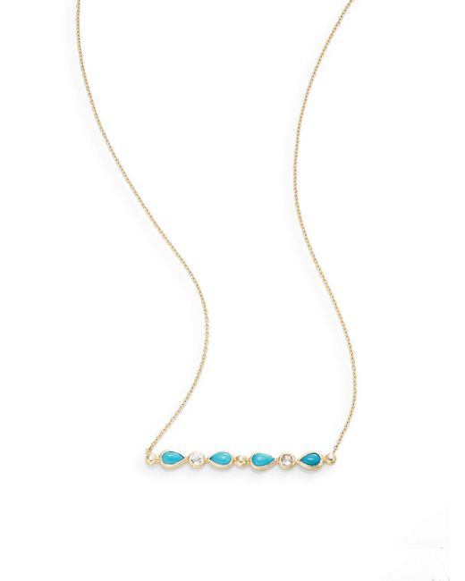 Anzie | Blue Classique Turquoise, Topaz & 14k Yellow Gold Pendant Necklace | Lyst
