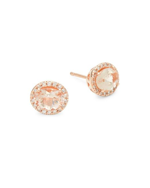 Effy - Metallic 14k Rose Gold Diamonds & Morganite Round Stud Earrings - Lyst
