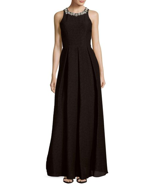 Notte by Marchesa | Black Sleeveless Pleated Dress | Lyst