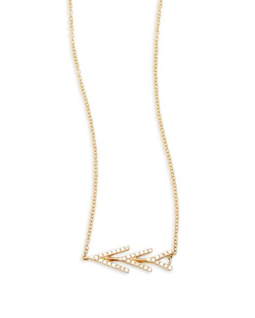 EF Collection - Metallic Partial Flying White Diamond & 14k Yellow Gold Necklace - Lyst