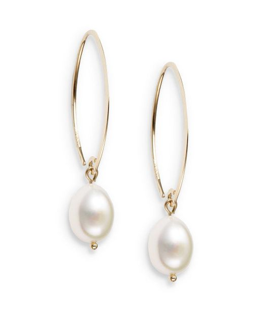 Saks Fifth Avenue - Metallic 10mm White Oval Freshwater Pearl & 14k Yellow Gold Drop Earrings - Lyst