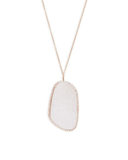 Meira T | White Druzy & Diamond Rose Goldtone Pendant Necklace | Lyst
