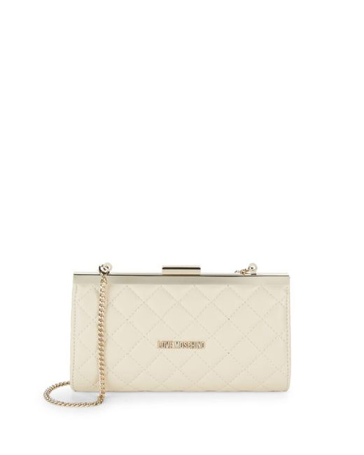 Love Moschino - White Quilted Clutch Bag - Lyst
