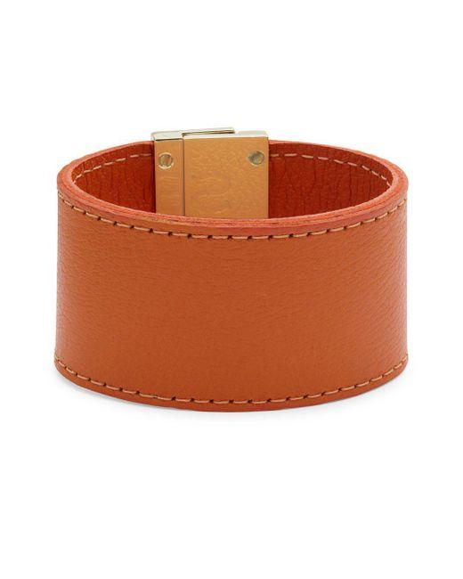 CC SKYE   Orange Leather Wrap Wide Bracelet   Lyst