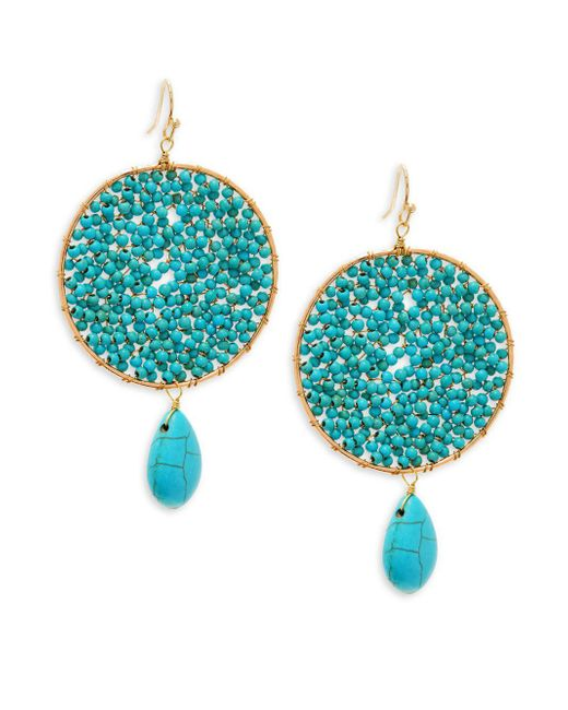 Panacea - Blue Crystal And Turquoise Beaded Drop Earrings - Lyst