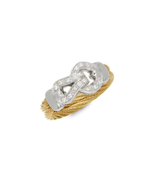 Alor - Metallic Diamonds, 18k White & Yellow Gold Ring - Lyst