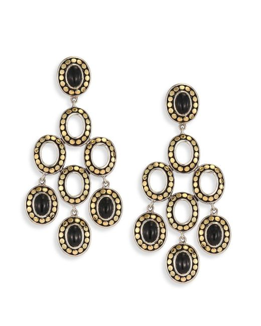 John Hardy - Dot Black Onyx & 18k Yellow Gold Chandelier Earrings - Lyst