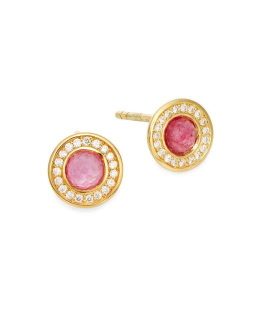 Ippolita | Metallic Lollipop Diamond, Pink Tourmaline & 18k Yellow Gold Stud Earrings | Lyst