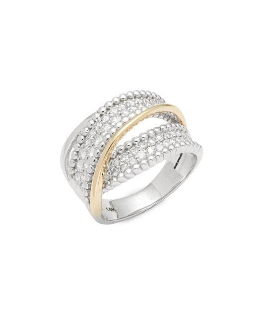 Saks Fifth Avenue - Metallic Two-tone Twist Diamond & 14k Yellow Gold Ring - Lyst