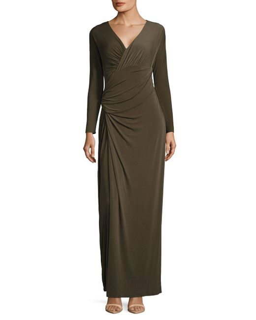 Vera Wang - Multicolor Taupe Ruched Dress - Lyst