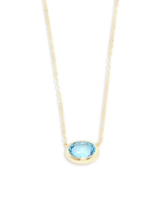 Saks Fifth Avenue - Blue Topaz And 14k Yellow Gold Chain Necklace - Lyst