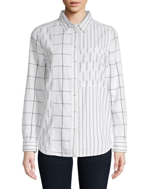 French Connection - White Maras Mixed Pattern Cotton Button-down Shirt - Lyst