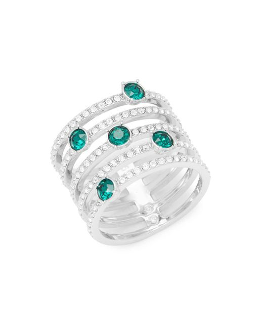 Swarovski - Metallic Emerald And Crystal Midi Ring - Lyst