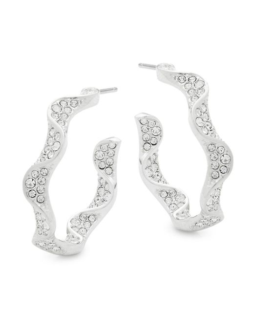 Adriana Orsini - Metallic Crystal Ruffle Hoop Earrings - Lyst