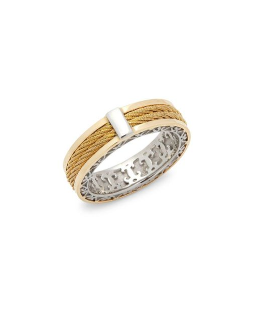 Alor - Metallic 18k Yellow Gold Cable Stainless Steel Ring - Lyst
