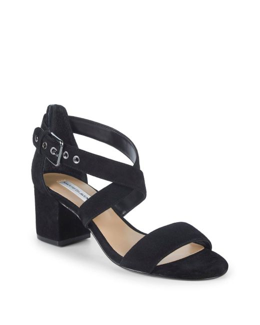 Saks Fifth Avenue - Black Strappy Suede Block Heel Sandals - Lyst