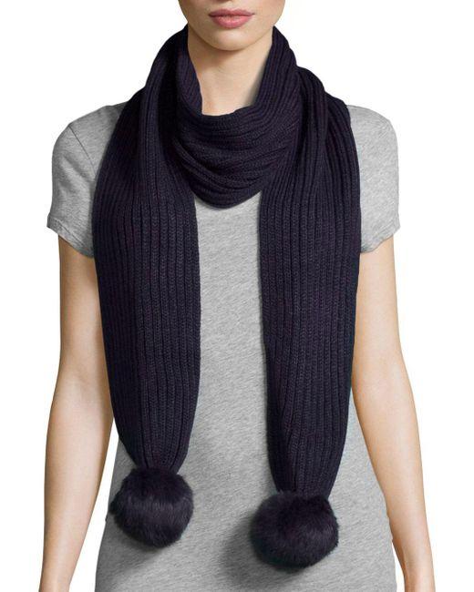 Adrienne Landau - Blue Ribbed Rabbit Fur Pom-pom Scarf - Lyst