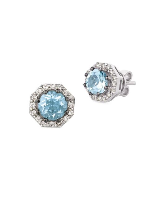 Le Vian - Metallic Diamond, Aquamarine & 14k White Gold Octagon Stud Earrings - Lyst