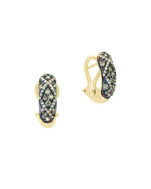 Effy - Metallic Final Call Brown Diamond & 14k White Gold Earrings - Lyst