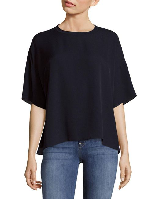 Vince | Blue Silk Rib Neck T-shirt | Lyst
