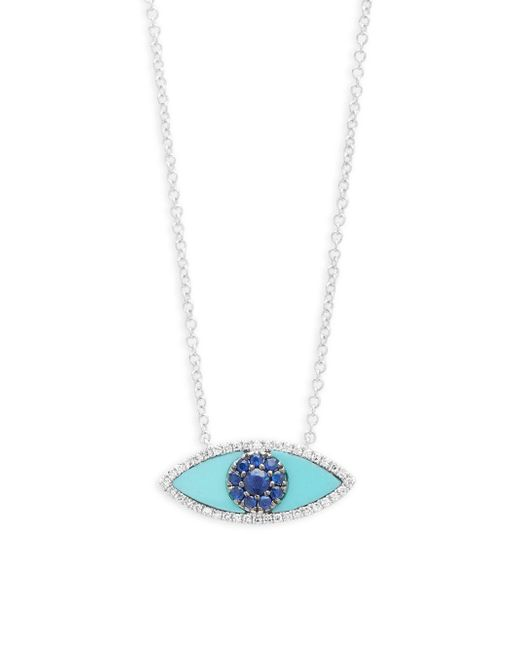 Saks Fifth Avenue - Multi-stone And 14k White Gold Eye Pendant Necklace - Lyst