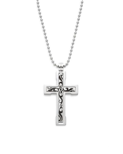 Saks Fifth Avenue - Metallic Stainless Steel Tattoo Cross Pendant Necklace - Lyst