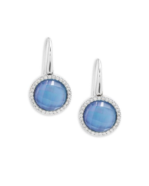 Roberto Coin - Blue Pearl, Diamond, Topaz And 18k Rose Gold Fantasia Drop Earrings - Lyst