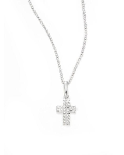 Effy - Metallic Diamond & 14k White Gold Small Cross Pendant Necklace - Lyst