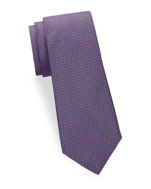 Saks Fifth Avenue - Blue Large Print Silk Tie for Men - Lyst