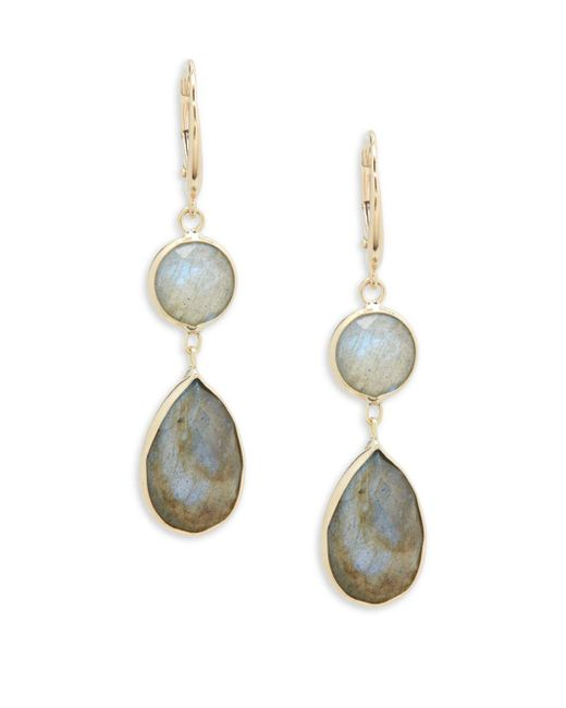 Saks Fifth Avenue - Metallic 14k Yellow Gold Round And Labradorite Pear Drop Earrings - Lyst