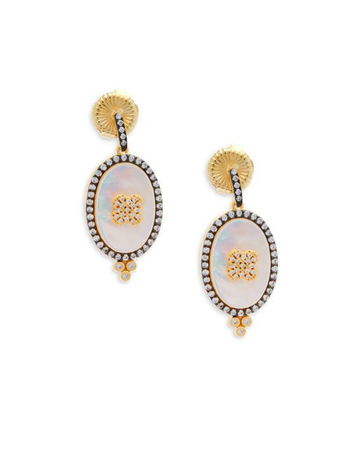 Freida Rothman - Metallic Mother-of-pearl, Pavé Crystal & Sterling Silver Clover Earrings - Lyst