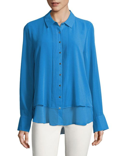 Karl Lagerfeld Blue Button-front Blouse