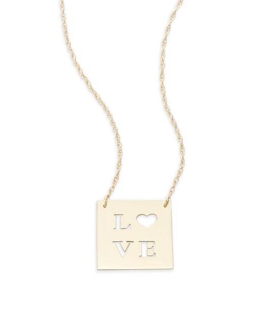 Saks Fifth Avenue | Metallic 14k Yellow Gold Love Cutout Pendant Necklace | Lyst