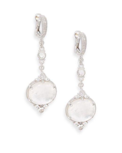 Judith Ripka - Metallic Allure White Sapphire, Rock Crystal, Mother-of-pearl & Sterling Silver Drop Earrings - Lyst