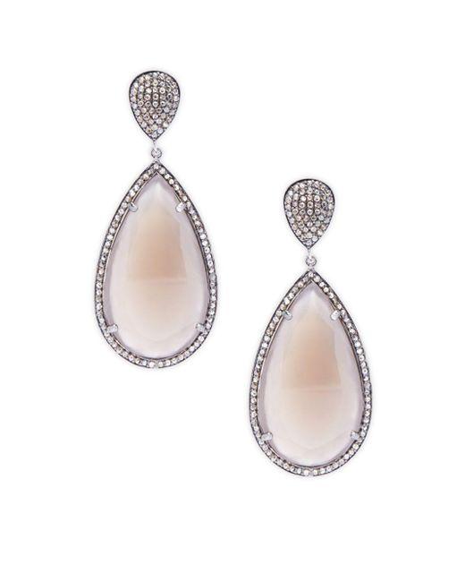Bavna   Metallic Diamond & Peach Moonstone Drop Earrings   Lyst
